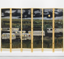 "Hernan Bas, ""Decorative changing screen for the home of a homosexual who made it out (airstream park)"", 2012. Six panel folding screen, acrylic and genuine gold and silver leaf on linen mounted in a birch-wood and genuine gold leaf frame. 183 x 274 x 5 cm (approx) / Overall dimensions variable. Photo André Morin Courtesy Galerie Perrotin, Hong Kong & Paris"