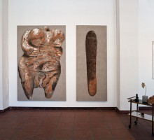 Antje Majewski, Venus, 2012. Tempera and oil on canvas. 240 x 160 cm. Courtesy Künstlerin und neugerriemschneider, Berlin.  Phallus, 2012. Tempera and oil on canvas.  240 x 60 cm. Courtesy Künstlerin und neugerriemschneider, Berlin. Simone Gilges, Ongoing Project, 2010. Teatable with four objects 1.Wood, leather, wool 2. Concrete, plastic 3. Ceramics, lacquer 4.Coconut. Courtesy Künstlerin. Juliane Solmsdorf, Square Nylon, 2012. Wood, Nylon. 122 x 87 cm. Courtesy Künstlerin.  Photo by Christina Dimitriadis