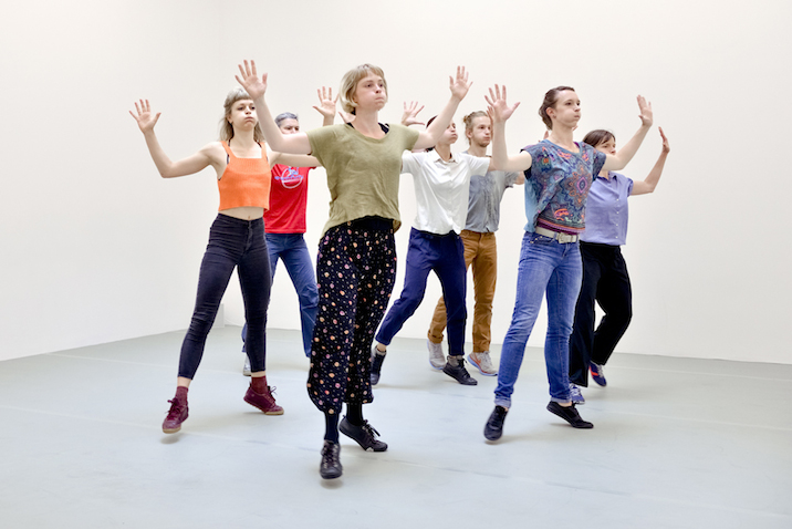 Yvonne Rainer: Dance Works, Raven Row, 2014 Diagonal (part of Terrain), 1963. Dancers in training with Pat Catterson and Yvonne Rainer, July 2014. Photo: Eva Herzog