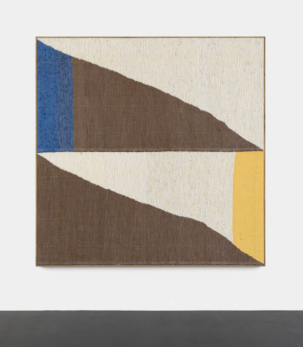 "Brent Wadden, ""Medium Double Double (blue / yellow)"", 2014. Painting - Handwoven fibres, wool, cotton and acrylic on canvas. Courtesy Peres Projects."