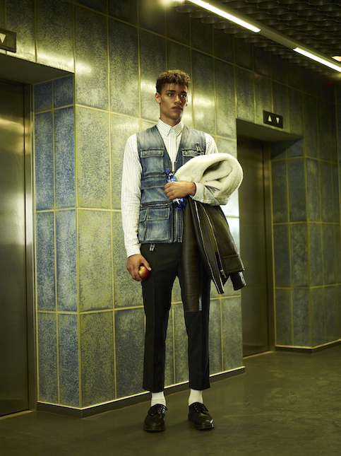 Shirt, denim jacket, lambskin jacket and trousers by Dior Homme; Shoes by Dr. Martens.