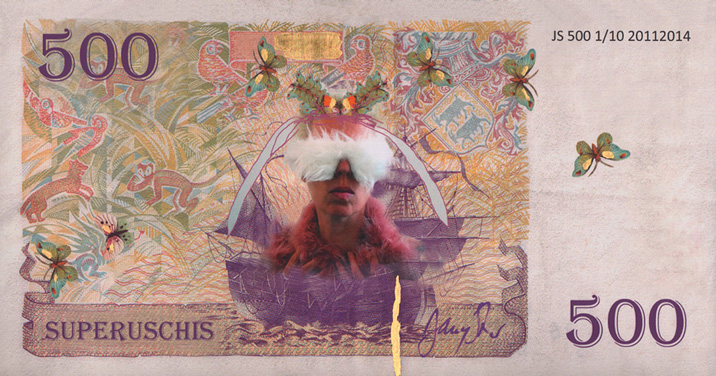 """Jonny Star, 500 SUPERUSCHIS (You Can Feel It), edition of 10, artwork to support the financing of the exhibition """"kitchen girls and toy boys"""", 2015."""