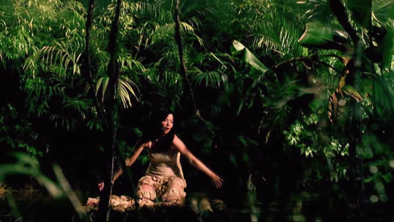 """Still from the music video for """"Alarm Call"""" by Björk, 1998. Directed by Paul White."""