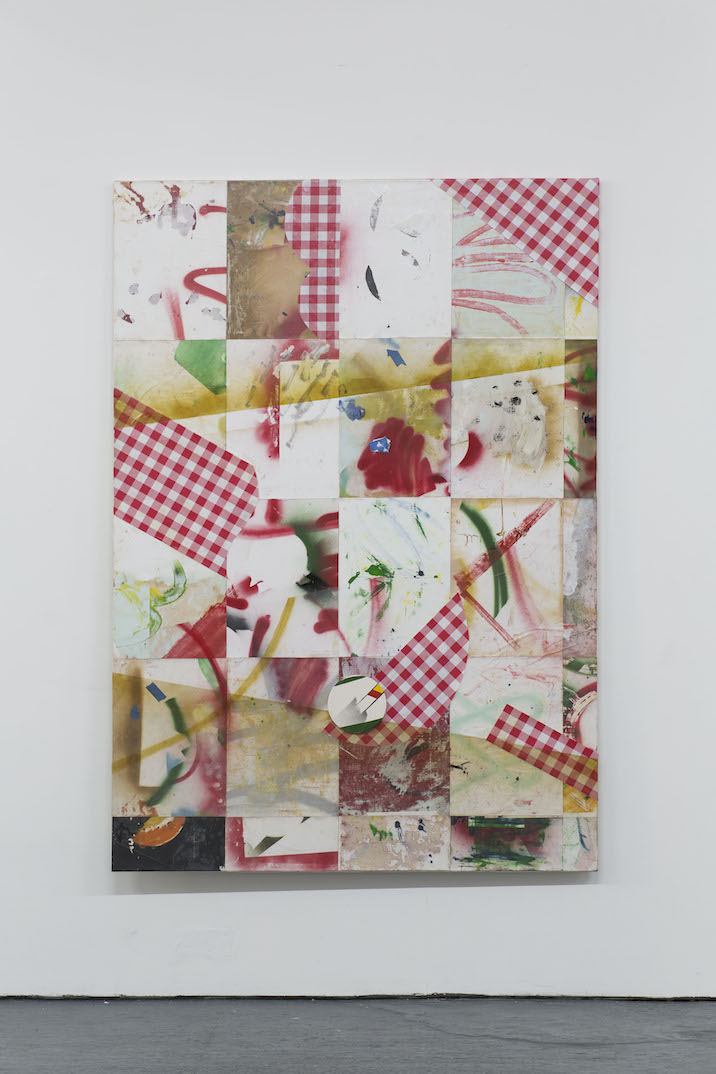 George Little, Left overs 1, 2015. Collage print and ceramic on paper on canvas, 187x127cm. Photo by Oscar Proktor. Bosse&Baum