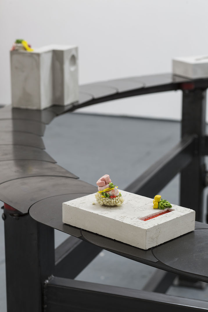 Installation view, Under the Cloche or You Always Catch Me Napkin. Lucy Tomlins, Kaizen, 2015. Mixed media, steel, motor, plaster, resin and clay, 270 x 270 x 115cm. Photo courtesy Oscar Proktor.