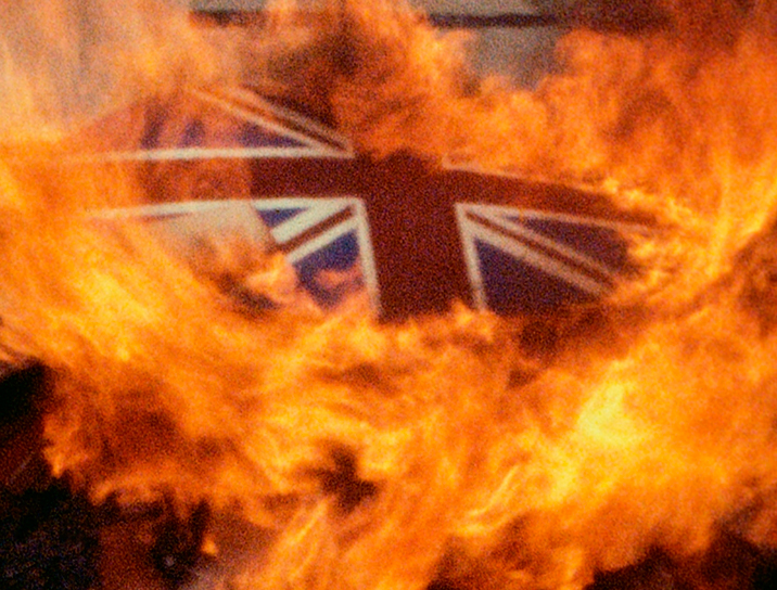 Derek Jarman, The Union Flag in Flames during Jordan's Dance (1977). All images are © 2014 LUMA Foundation.