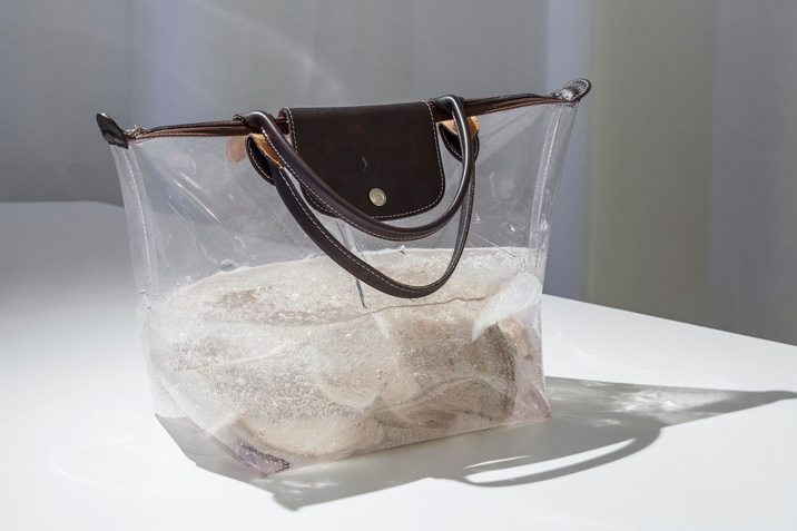 Anicka Yi 235,681K of Digital Spit, 2010 PVC and leather bag, hair gel, tripe Unique, Courtesy 47 Canal, Exhibition view, THEM, Schinkel Pavillon, 2015, Photo by Timo Oehler