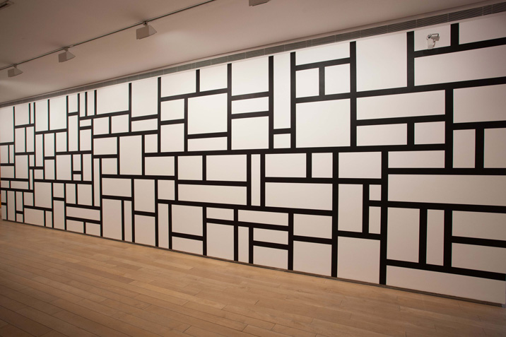 Wall Drawing 614, Rectangles formed by 8 cm wide India ink bands, meeting at right angles, India ink . First drawn by: David Higginbotham, Liam Longman, Philip Riley, Jim Rogers, Elizabeth Sacre First installation: Lisson Gallery, London, 1989 Yale University Art Gallery, Newhaven, CT. Gift of the artist