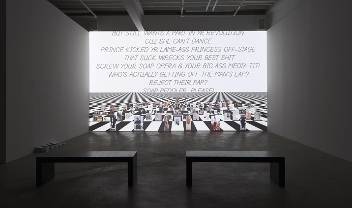 Frances Stark, installation view of Bobby Jesus's Alma Mater b/w Reading the Book of David and/or Paying Attention Is Free, 2013, courtesy the artist and Gavin Brown's enterprise, New York, photography by Mark Woods
