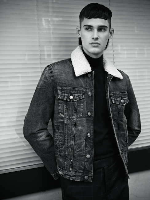 Denim jacket by  The Kooples, knit by Tiger of Sweden, pants by Richert Beil