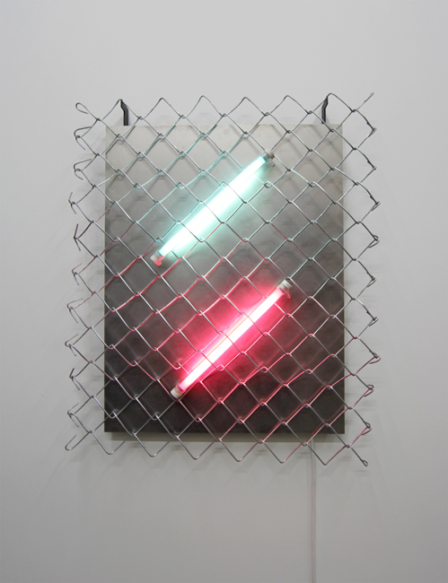 Mark Davey, Hold, 2015, Painted steel, fluorescent lights, chain-link fence, stainless steel, 73 cm x 60 cm. All photos courtesy of the artist and The RYDER, London
