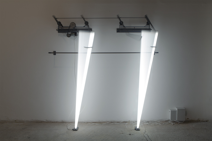 Mark Davey, Us, 2015,  steel, motor and fluorescent light, 210 cm x 200 cm x 35 cm