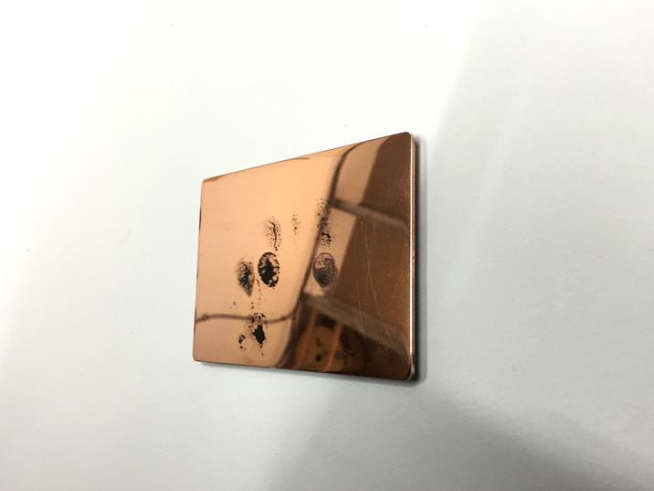 Mark Davey, Trackpad, 2015, copper, patina fingerprints, 11 cm x 8 cm