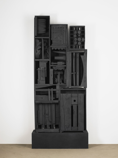 Louise Nevelson, Beards' Wall, 1958-1959 11 wood boxes painted black, 260.4 cm x 105.4 cm x 36.8 cm, copyright 2015 Estate of Louise Nevelson/Artists Rights Society (ARS), New York Photo courtesy Pace Gallery