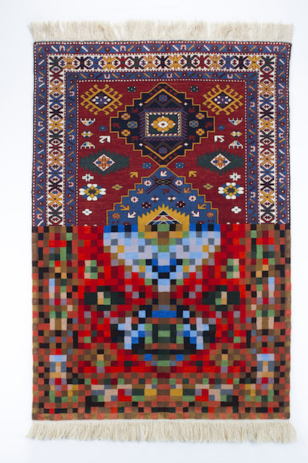 Faig Ahmed, Traditio n  i n  Pixel 2010 Ha ndmade woole n  carpet ,  150 x100cm  C ourtesy : Montoro12 Co ntemporary Art