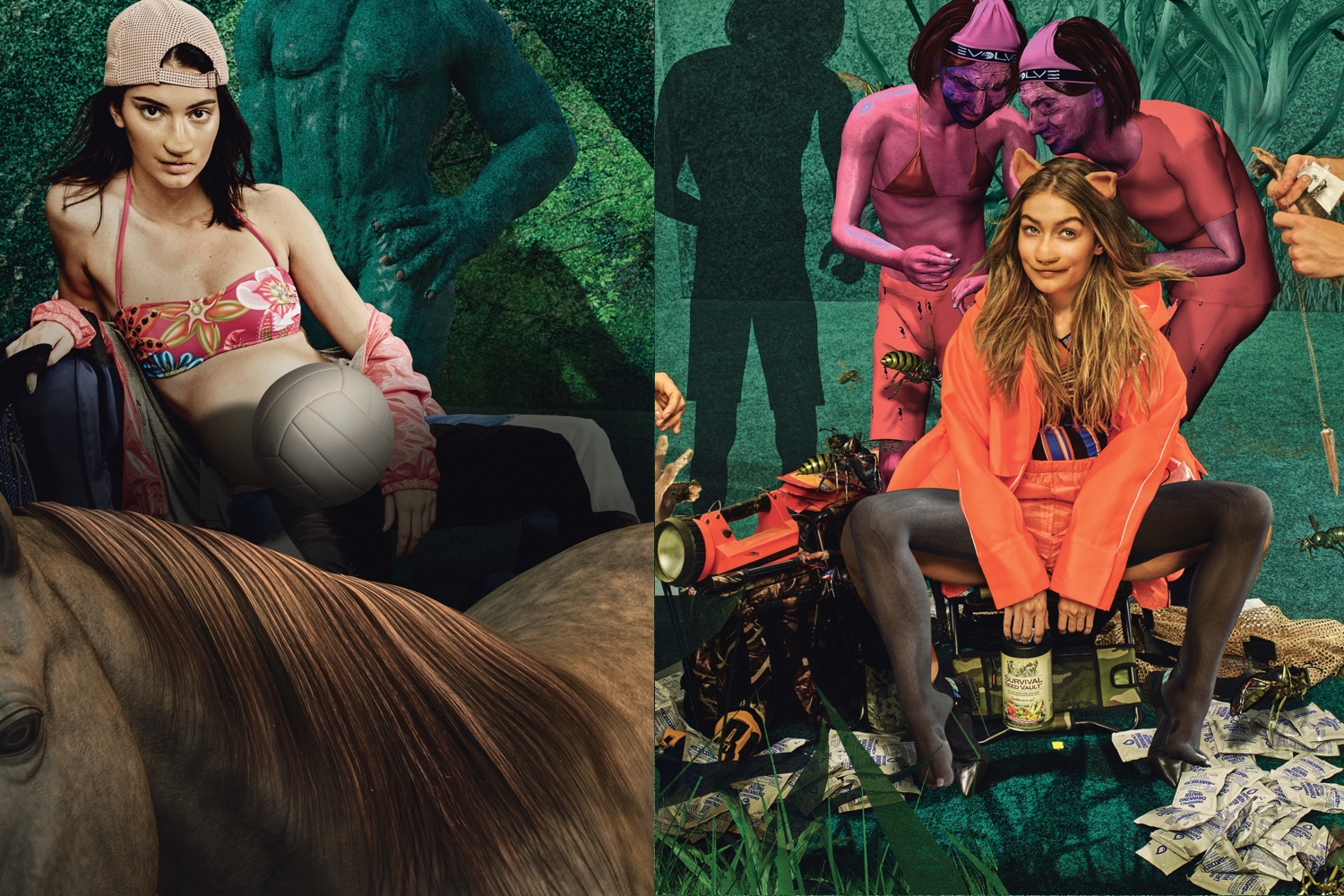 W Magazine 10th anniversary art issue by Lizzie Fitch and Ryan Trecartin, starring Kendall Jenner and Gigi Hadid