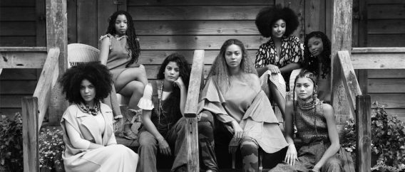 Beyoncé with some of the women featured-in Lemonade. Image from www.trbimg.com