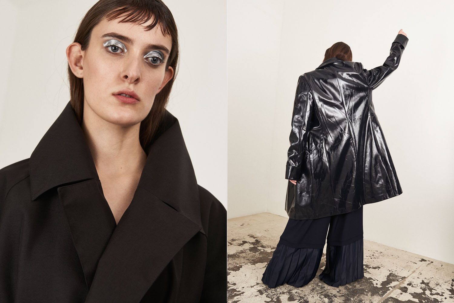 Left: Coat by Isabel Vollrath. Right: coat by William Fan, shirt by Kiomi, trousers by Nobi Talai.