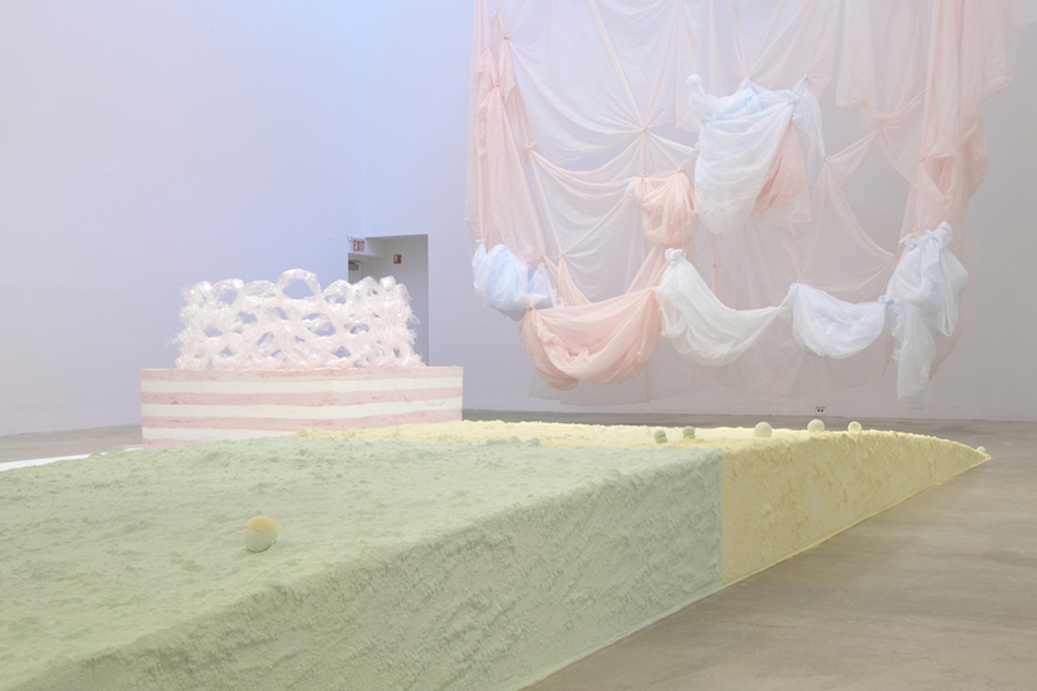 Karla Black, Practically In Shadow, 2013, installation view, Institute of Contemporary Art, University of Pennsylvania. Photo- Aaron Igler:Greenhouse Media.
