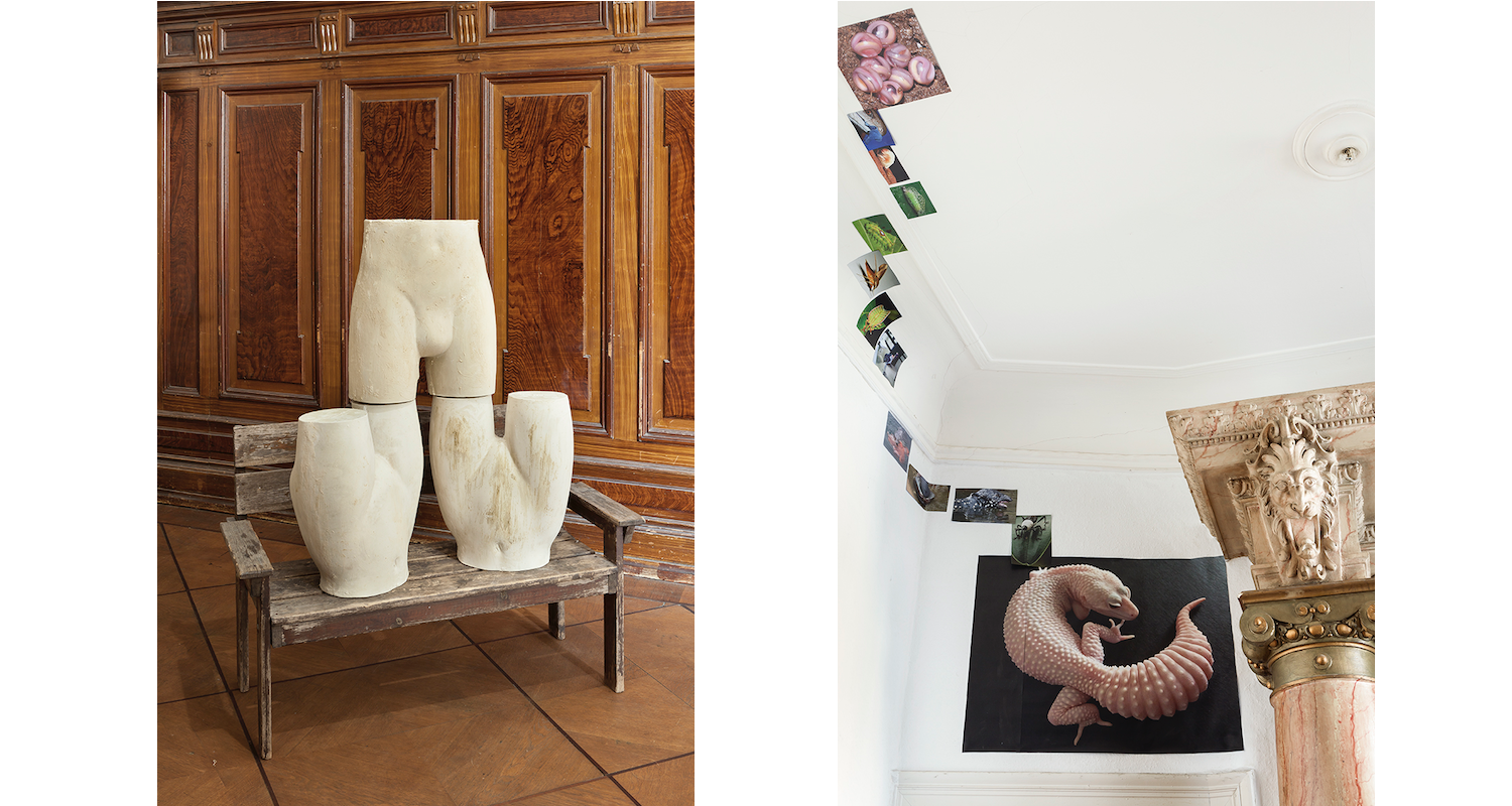 """Left: Débora Delmar Corp., """"Fresh perishables"""", 2017. Right: Joey Holder, Installation View, """"Dark Creatures"""", 2015-ongoing. Image: Courtesy of the artists, Julius and Àngels Miralda"""