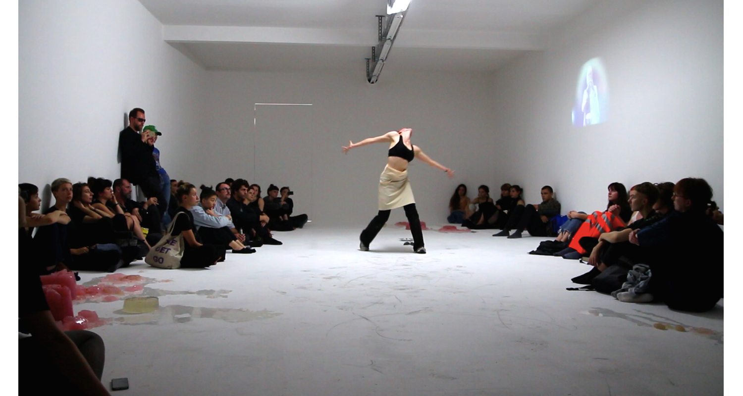 """Shade Therét, """"Body as Archive"""" performance view at 'the new liquid model, DUVE Berlin, 2017 Image: Courtesy of the artists and Naomi Bisley."""