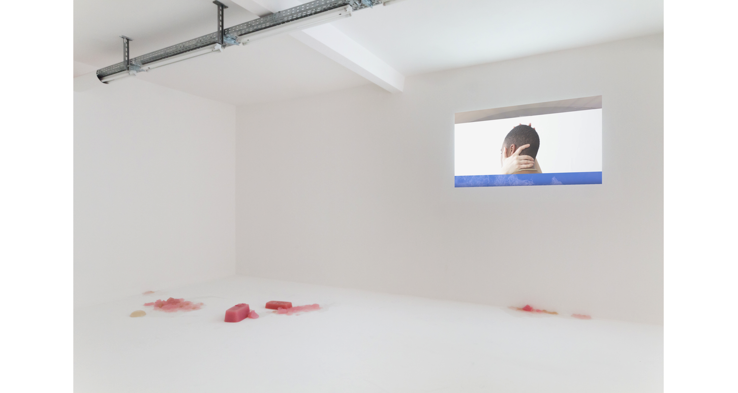"""Rindon Johnson """"It Is April"""", 2017. Installation View, """"the new liquid model"""" DUVE Berlin. Image: Courtesy of the artists and Naomi Bisley."""