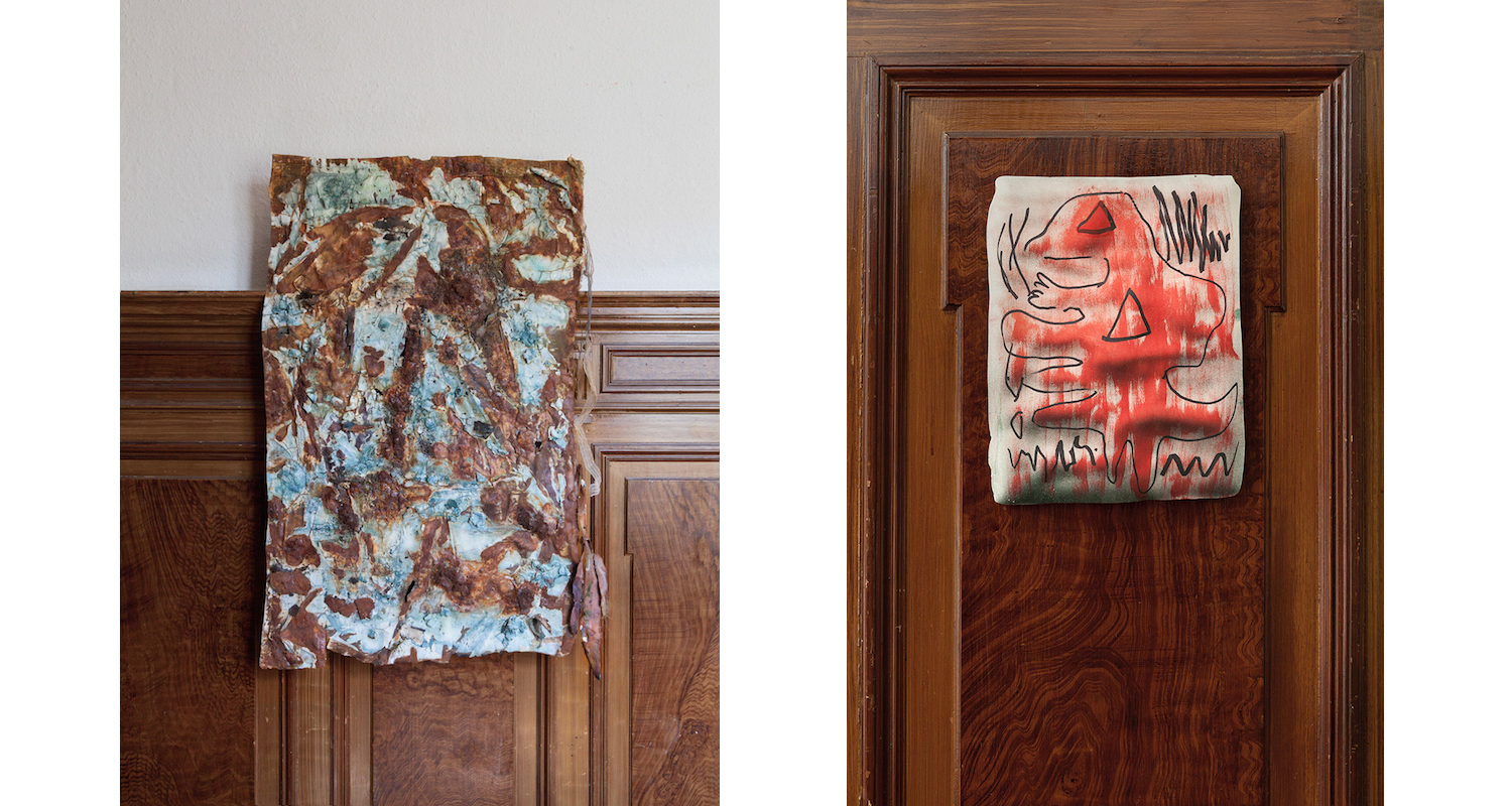 """Left:Selou Sowe, """"Untitled"""", 2016. Right: Sachin Kaeley, 2016. Image: Courtesy of the artists, Julius and Àngels Miralda."""