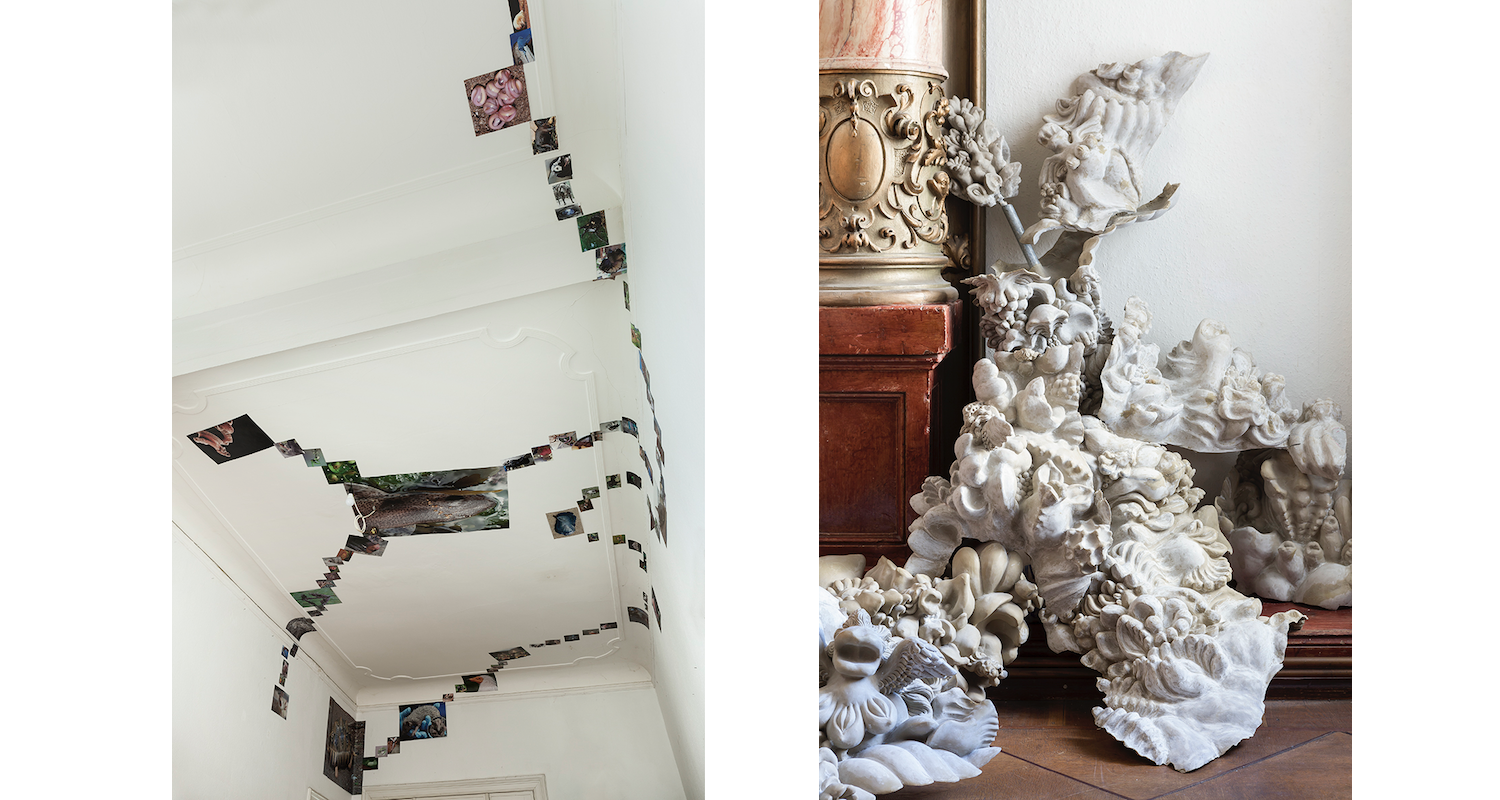 """Left: Joey Holder, Installation View, """"Dark Creatures"""", 2015-ongoing. Right: Miriam Lenk, """"Untitled"""", 2017. Image: Courtesy of the artists, Julius and Àngels Miralda"""