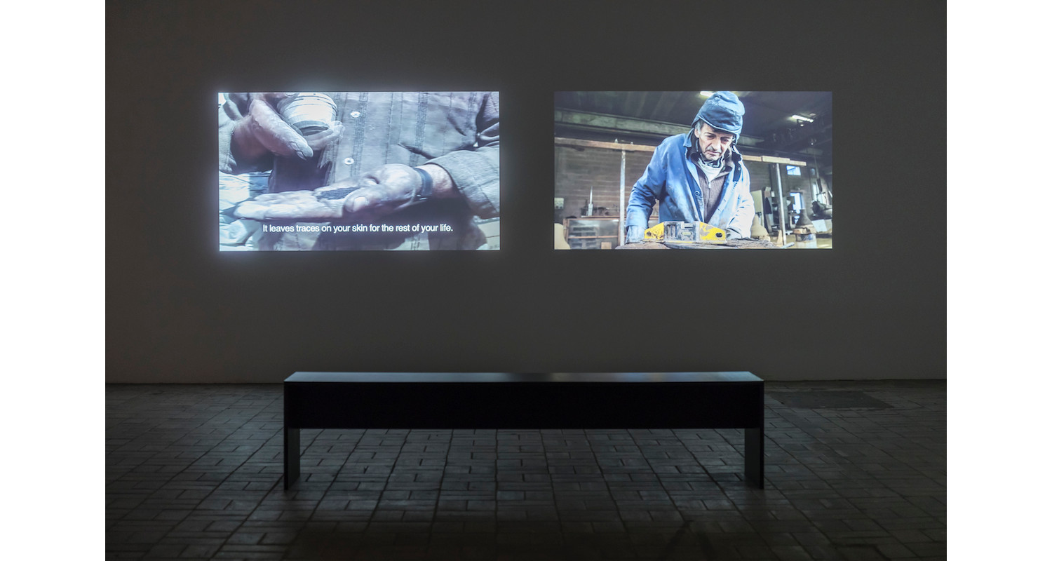 """Hiwa K, """"The Bell Project"""", 2007/2015,Two-channel video, Installation view KW Institute for Contemporary Art, 2017. Image: Frank Sperling"""