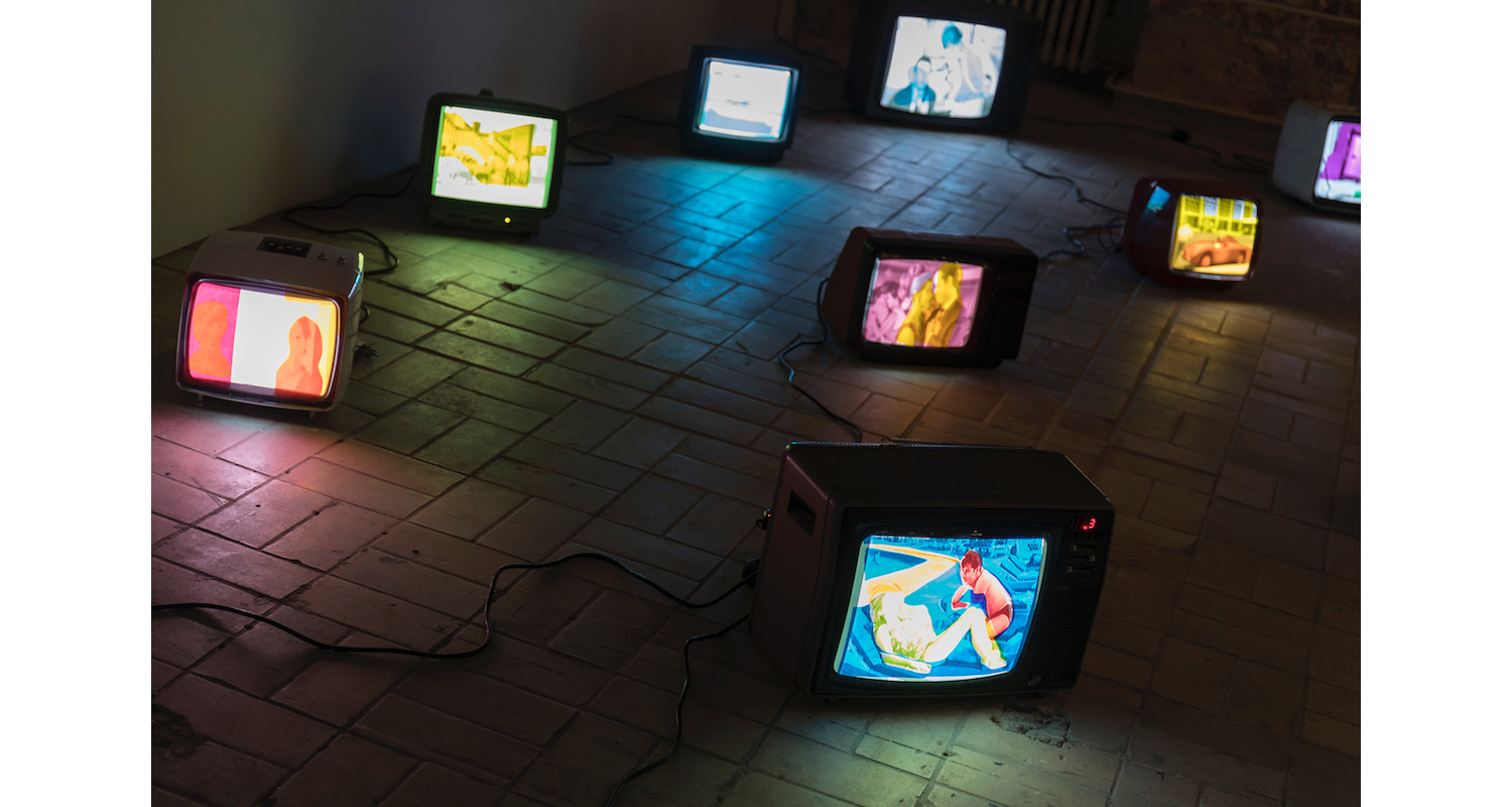 """Hiwa K, """"My Father's Color Period"""" (Detail) 2012, Installation view KW Institute for Contemporary Art, 2017. Image: Frank Sperling"""