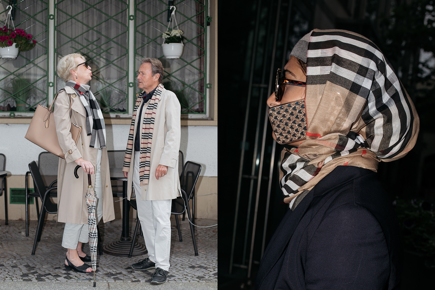 eae5ec2e Left: Handbag and scarf by Burberry, Coat by Burberry via Comme Des  Costumes, Umbrella by Burberry Right: Headscarf is model's own